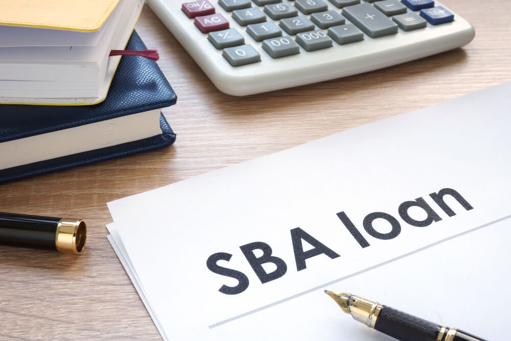 SBA loan form on an office table