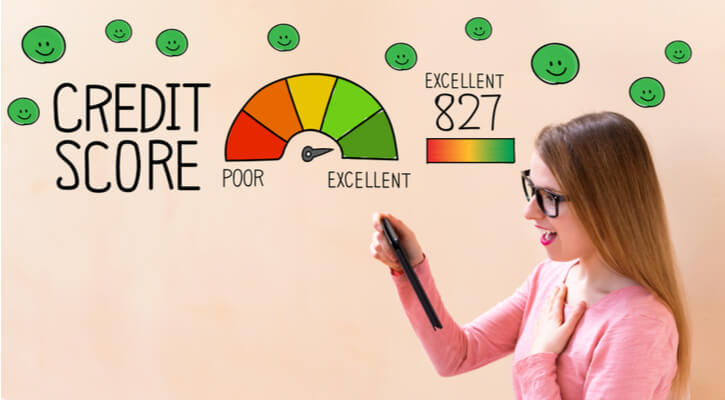 excellent credit score with young woman